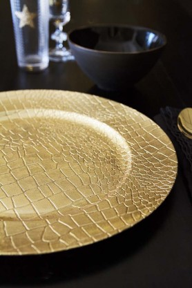 Decorative Gold Snakeskin Charger Party Plate