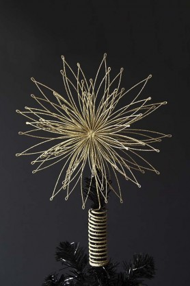 Gold Star Christmas Tree Topper Decoration