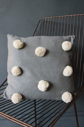 Grey & White Pom Pom Cushion