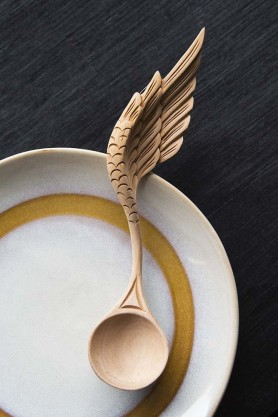 Hand Carved Wooden Spoon - Angel Wing