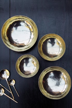 Handmade Brass Polished Bowls Set of 4