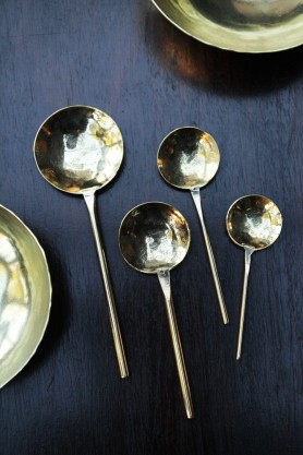 Handmade Brass Polished Spoons Set of 4