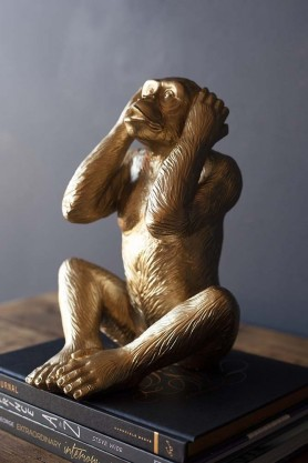 Hear No Evil Gold Monkey Ornament