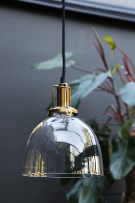 Clear Glass Dome Shade With Brass Fittings