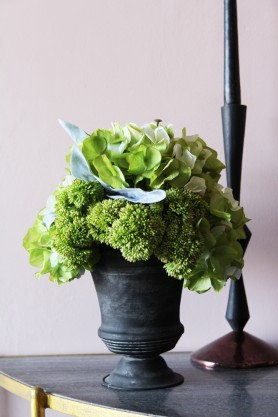Hydrangea & Seedum Floral Arrangement In Grey Pot