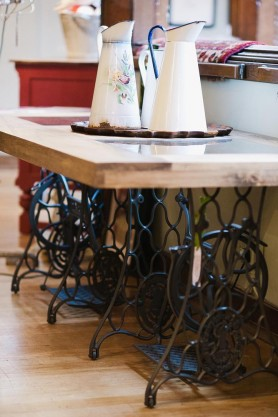 Vintage Singer Table with Wooden Top  By Ines Cole