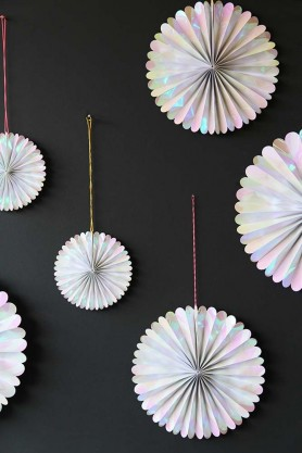 Set Of 6 Hanging Iridescent Pinwheel Decorations
