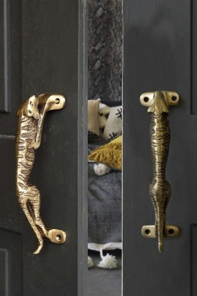 Set Of 2 Brass Jaguar Door Handles
