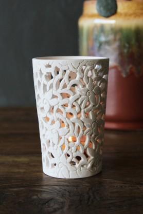 Kareen Carved Tea Light Holder - White