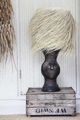 Large Artisan Tete Table Lamp With Straw Shade - Black
