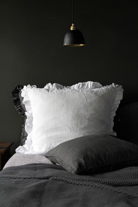 Olivia Soft Linen Frill Cushion - White