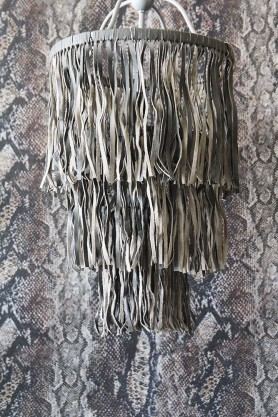 Leather Tassel Chandelier - Grey