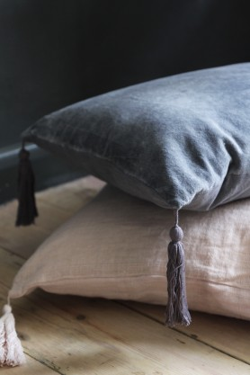 Cotton Tassel Cushion - Slate Grey