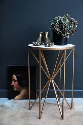 Butterfly Side Table - Brass & White Marble