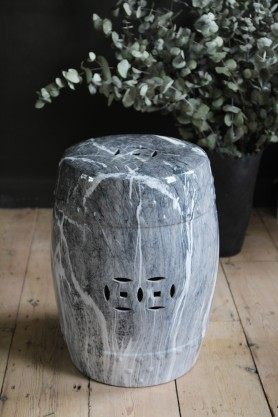 Ice Grey Marble Effect Stool