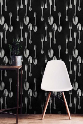 Mind The Gap Wallpaper Collection - The Antiquerian - Cutlery - Silver