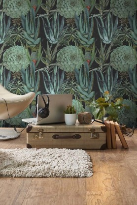 Mind The Gap Wallpaper Collection - The Rediscovered Paradise - Succulentus - Anthracite