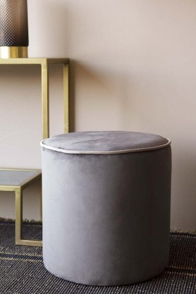 Pewter Grey Pouffe With Pale Grey Piping Detail