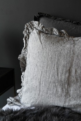 Olivia Soft Linen Frill Cushion - Grey Marl