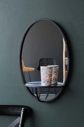 Oval Mirror With Shelf