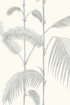 Cole & Son - Contemporary Restyled - Palm - Soft Grey on White