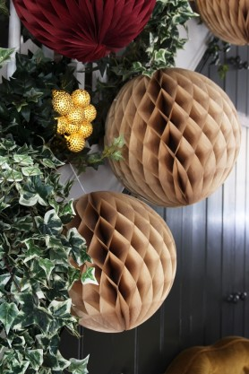 Set of 2 Champagne Honeycomb Ball Decorations