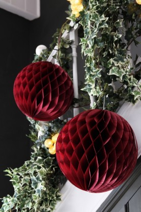 Set of 2 Burgundy Honeycomb Ball Decorations
