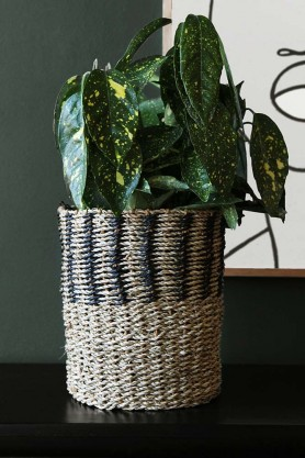 Black & Natural Lined Seagrass Wicker Basket