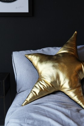 Sarah Baily Metallic Gold Leather Star Cushion
