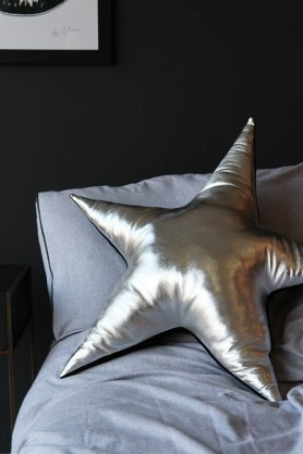 Sarah Baily Metallic Silver Leather Star Cushion