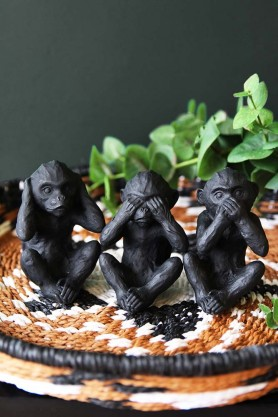 Three Wise Monkey Ornaments - Black