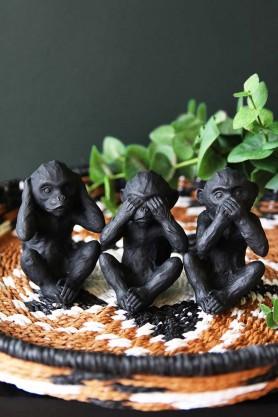 Three Wise Monkey Ornaments - Black
