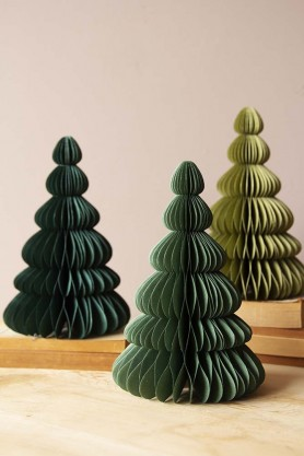 Set Of 3 Paper Honeycomb Christmas Trees - Green