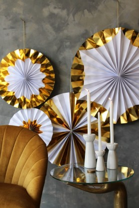 Set Of 4 Foil Giant Pinwheel Decorations - Gold