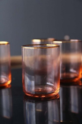 Set of 4 Rose Pink & Gold Water Glasses