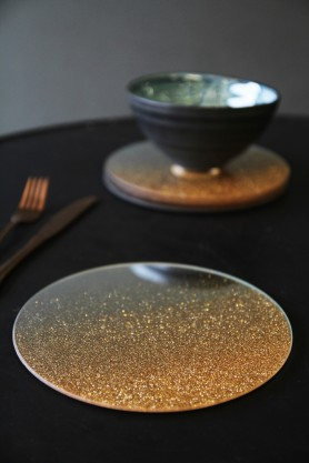 Set of 4 Gold Glitter Coasters - Large