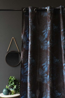 Blue Palm Leaf Shower Curtain