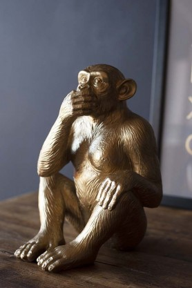 Speak No Evil Gold Monkey Ornament