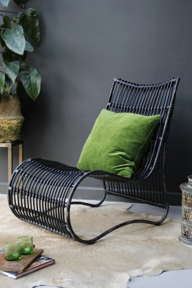 Black Rattan Lounge Chair