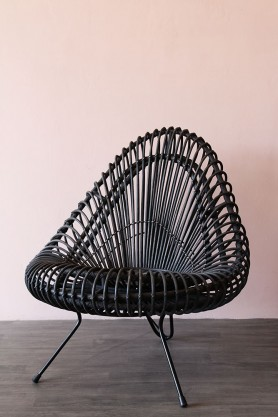 Black Wicker Lounge Chair