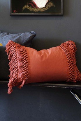 Tassel Cotton Cushion - Paprika