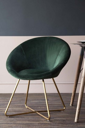 The Grand Velvet Circular Dining Chair- Rich Green