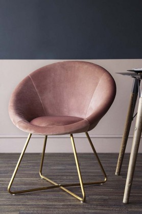 The Grand Velvet Circular Dining Chair - Rose Pink
