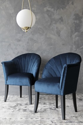 The Lovers Velvet Chair - Midnight Blue