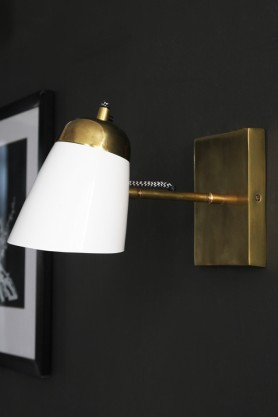 The Mortimore Wall Light - Antique Brass & Gloss White