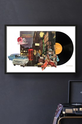 David Bowie Ziggy Stardust Record Cover Collage by Alison Stockmarr