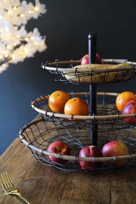 Three Tier Rattan Fruit Bowl / Stand
