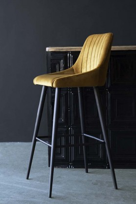 Tall Casino Velvet Bar Chair - Golden Ochre