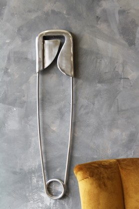 Large Polished Aluminium Safety Pin Wall Decor