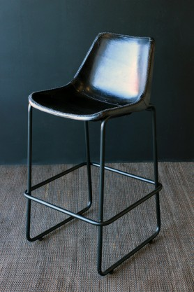 Industrial Leather Bar Stool - Black